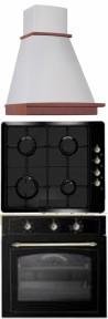 SIMFER 2235 90 bézs - RUSTIC 105230 - RUSTIC 105228 Rusztikus beépíthető sütő gázfőzőlap páraelszívó szett antracit