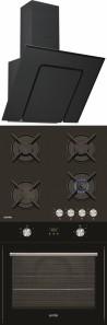 SIMFER 3423 90 fekete - 6400 NGSSP - 6106 OERSP Beépíthető sütő üveg-gázfőzőlap páraelszívó szett fekete üveg