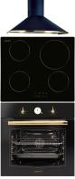 CATA Clasica 600 N/C - IB 6104 BK - MRA 7008 BK Rusztikus sütő üvegkerámia főzőlap páraelszívó szett fekete