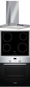 BOSCH DWB06W452 - PIA645B18E - HBN439E4 Beépíthető sütő indukciós főzőlap páraelszívó szett inox