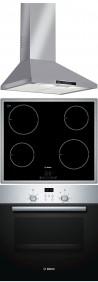 BOSCH DWW06W450 - PIA645B18E - HBN439E4 Beépíthető sütő indukciós főzőlap páraelszívó szett inox