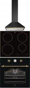 ELECTROLUX EFC 60441 OR - EHH 6340 IOB - EOA 5220 AOR Rusztikus sütő üvegkerámia főzőlap páraelszívó szett fekete/arany