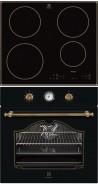 ELECTROLUX EHH 6340 IOB - EOA 5220 AOR Rusztikus sütő üvegkerámia főzőlap szett fekete/arany