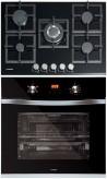 NODOR GCS 417 - DECOR 700 DT AC BK Beépíthető sütő üveg-gázfőzőlap szett fekete