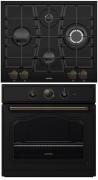 GORENJE GW 65 CLB - BO 73 CLB Rusztikus beépíthető sütő gázfőzőlap szett Fekete/arany