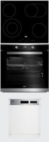 BEKO HIC-64403T - BIM-35300XMS - DSN-26420X Beépíthető sütő üvegkerámia főzőlap mosogatógép szett fekete/inox