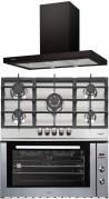 CATA Sygma 900 BK - L 905 TI - ME 910 I Beépíthető sütő gázfőzőlap páraelszívó szett fekete/inox