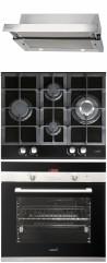 CATA TF-2003/60/D DurAlum<sup>&reg;</sup> - LCI 631 A BK - CDP 780 AS BK Beépíthető sütő üveg-gázfőzőlap páraelszívó szett inox